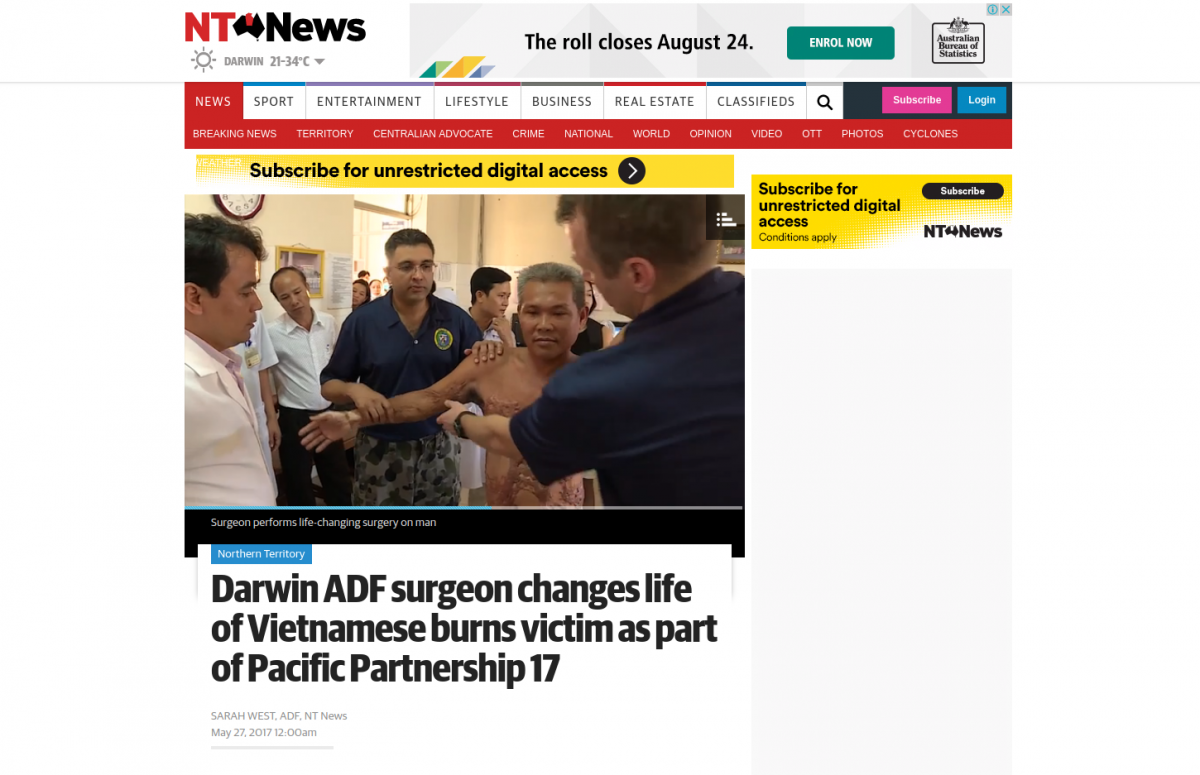Darwin ADF Surgeon Changes Life